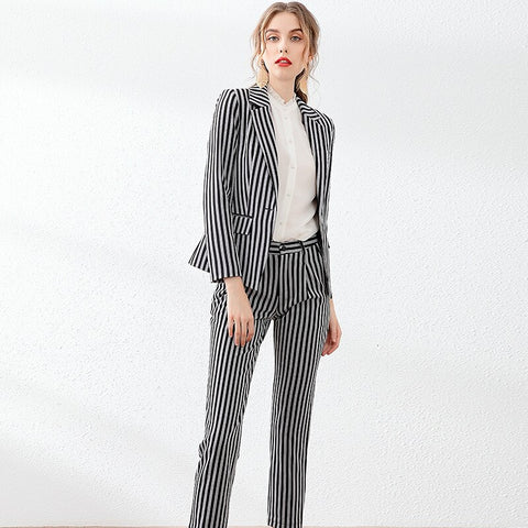 -Womens Popular Brand Designer Pinstripe Slim Fit 2 Piece Pants Suit