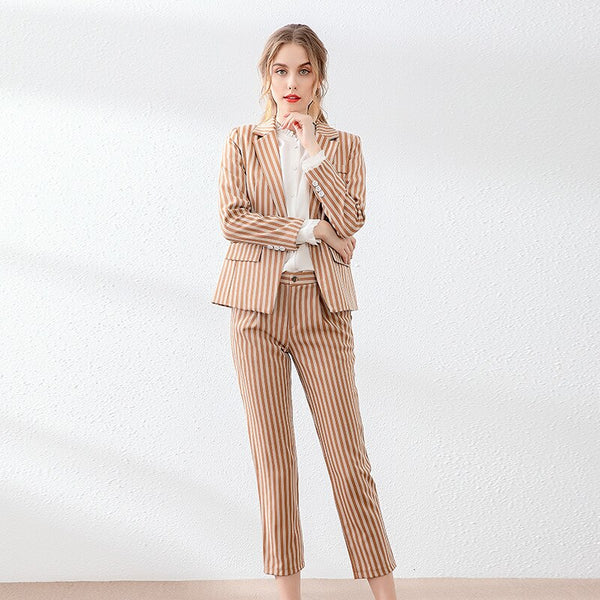 Womens Popular Brand Designer Pinstripe Slim Fit 2 Piece Pants Suit