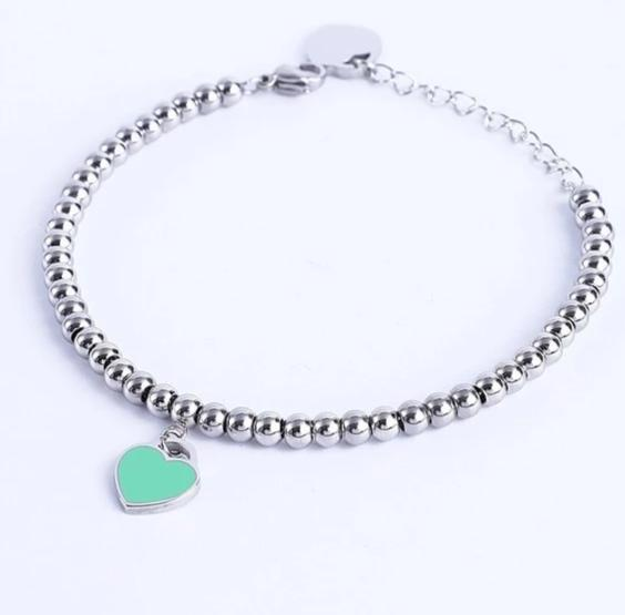 Tiffany Inspired Heart Shaped Stainless Steel Blue & Pink Engraved Charm Bracelet