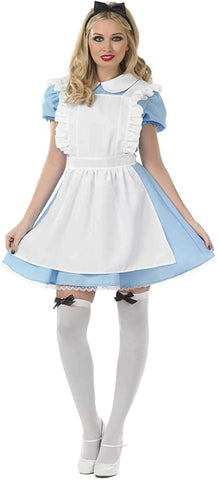 Womens Traditional Alice Costume Adults Fairytale Blue Character Dress