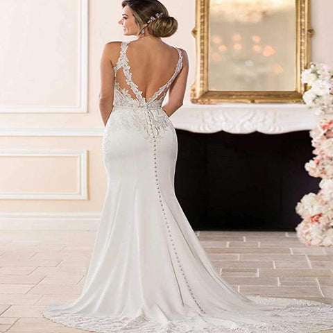 Luxury Backless Lace Appliques Mermaid Wedding Gown Ballroom Dress for Bride