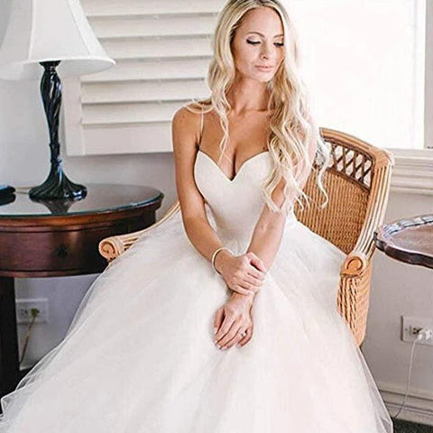 Simple A Line Sweetheart Wedding Dresses Beaded Pleated Bridal Gowns