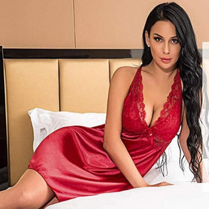 -Women Solid Satin Lace Babydoll Lingerie Nightgown Lingerie Set