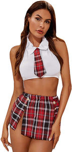 SOLY HUX Women's Sexy Uniform School Girl Costume Cosplay Plaid Skirt Lingerie Set