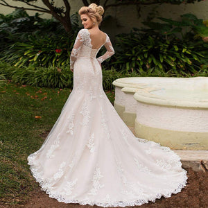 Elegant Long Sleeves Lace Wedding Dress Laceup Back Tulle Mermaid Bridal Gowns