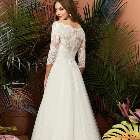 Women's Half Sleeve Lace Wedding Dresses Long Boat Neck Aline Tulle Bride Gowns