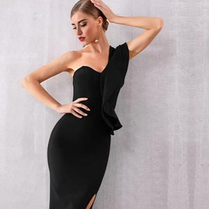Celebrity Style Solid Single Shoulder Ruffle Back Zipper Bodycon Club Dress