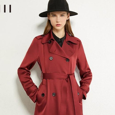 Women's English Vintage Solid Lapel Double Breasted Belted Trench Coat