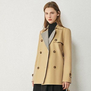 Women's European Autumn Winter Fashion Plaid Spliced Lapel Belted Trench Coat