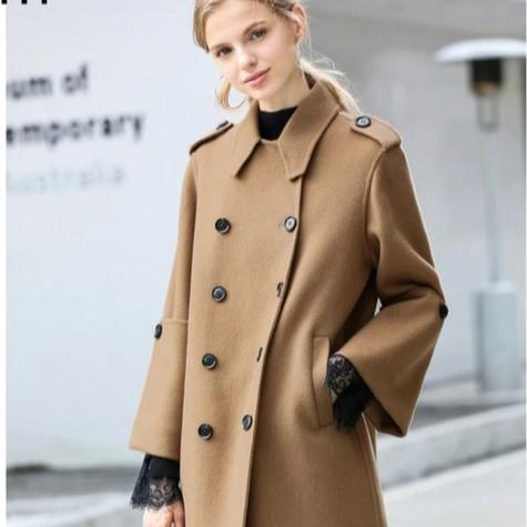 Women English Vintage Winter Solid Double Breasted Cloak 100% Wool Trench Coat