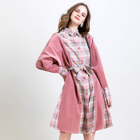 New Women Trendy Long Sleeve Pink Corduroy Plaid Stitch Designer Runway Dress