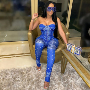 Sexy Blue And White Paisley Bandanna Print Women Strapless One Piece Pants Jumpsuit - ICU SEXY