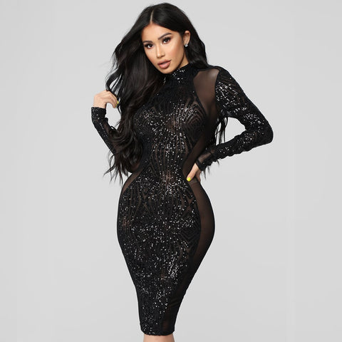 Open Back Black Mesh Sequin Black Bodycon Club Dress