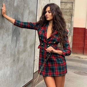 Women's Trendy Cotton Blend Red Plaid Long Sleeve Double Breasted Vintage Mini Dress