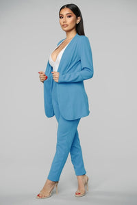 Women's Brand Fashion Ski Blue Cardigan Blazer High Waist Wear To Work Pant Suit