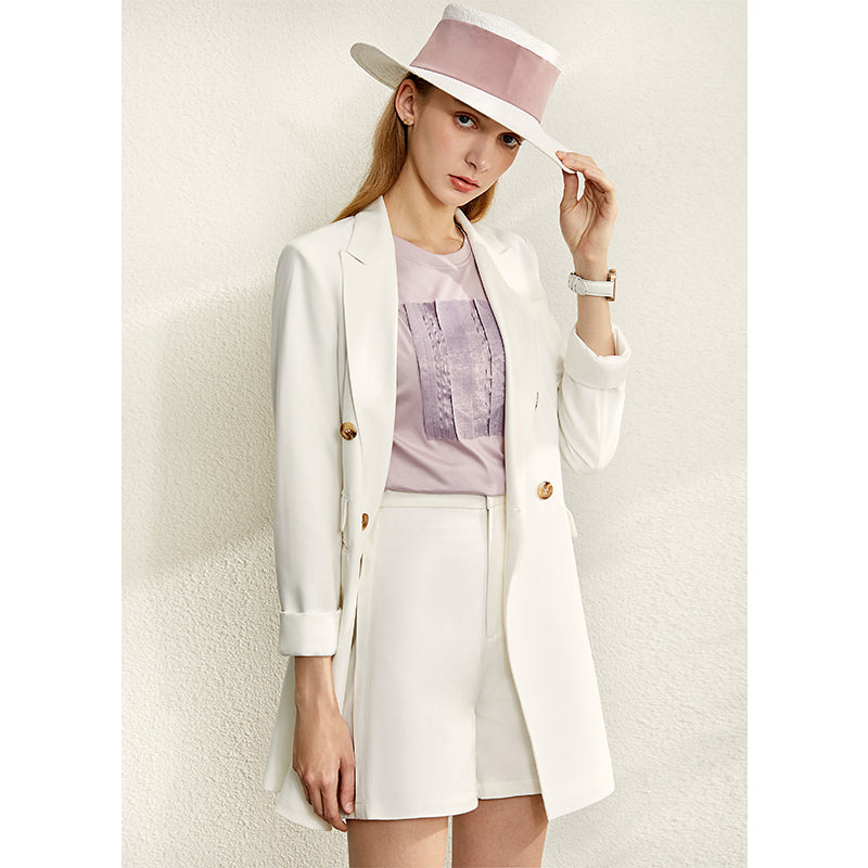 Women Lapel Coat Half Solid Short Pant Suit