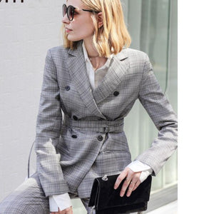 Women's Brand Fashion Plaid Double Breasted Blazer with Belt Pants Suit