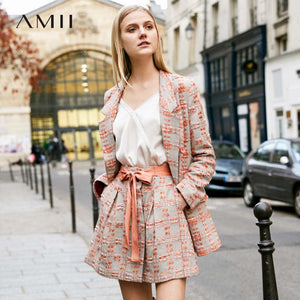 Amii Minimalist Tweed Two Pieces Set Autumn Office Lady Loose Lapel Blazer MIni Skirt Elegant Female Suit 11920008 11920009