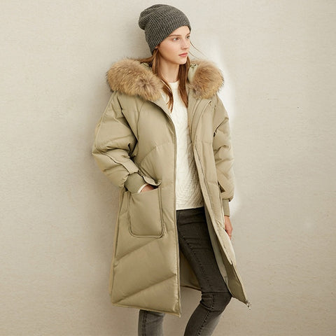 Winter Luxury Winter Fashion 90% Thick Quilted White Duck Down Jacket Elegant Hooded Fur Collar Loose Hooded