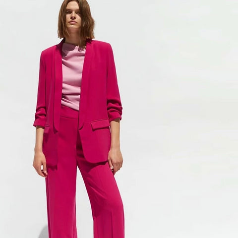-Women's Brand Wear To Work Fashion Solid Pink Long Blazer Jacket & Pant Suit Set