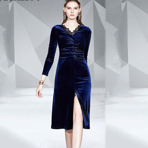 Sexy V-Neck High Split Long Sleeve Blue Velvet Runway Dress - ICU SEXY