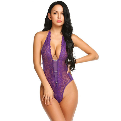Hot Erotic Bodysuit Solid Waist Open Bust Halter Teddy