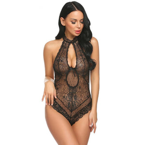 Sexy Keyhole Halter Floral Lace Black Leather Teddy