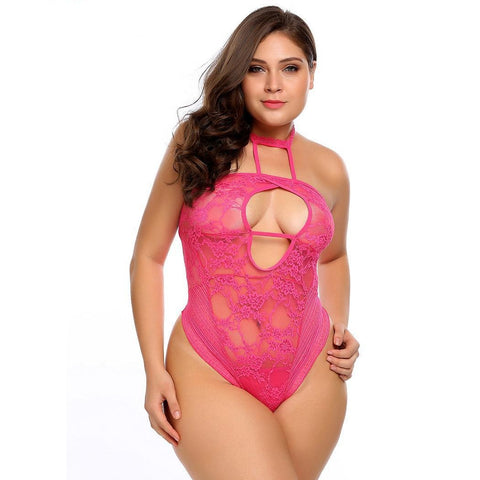 Women Bodystocking Plus Size Keyhole Slim Night Lace Halter Teddy