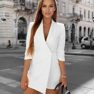 Women's Trendy Solid Half Sleeve V-Neck Blazer Romper