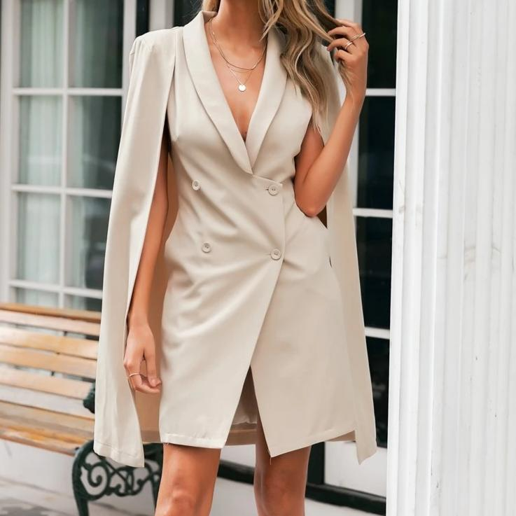 -Women's Popular Brand Designer Style Vintage Boyfriend Cloak Blazer Dress