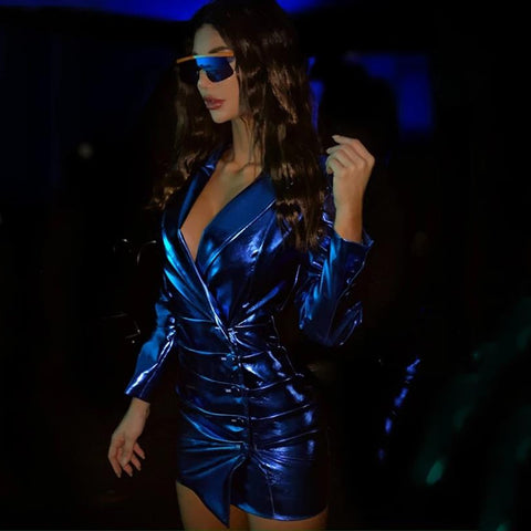 Sexy Long Sleeve Buttons Blue PU Leather Mini Dress