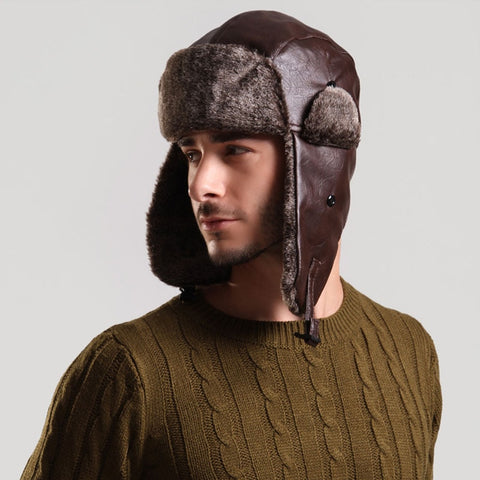 Russian Bomber Hat with Ear Flap Mens Winter Faux Leather Fur