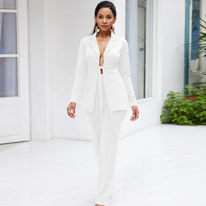 -Women's Stylish White Blazer and Pants Fashion Wear To Work  Pant Suit