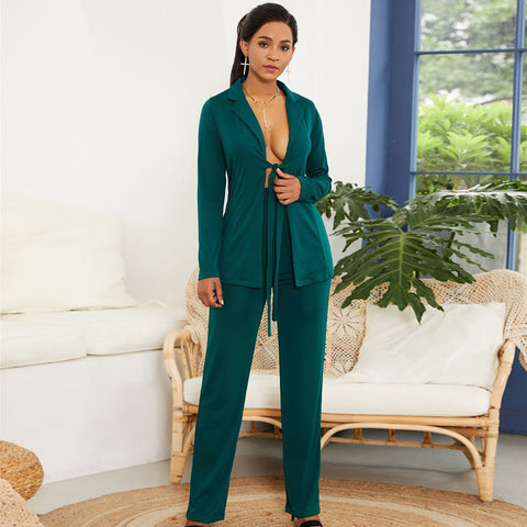 -Women's Stylish Green Blazer and Pants Fashion Wear To Work  Pant Suit