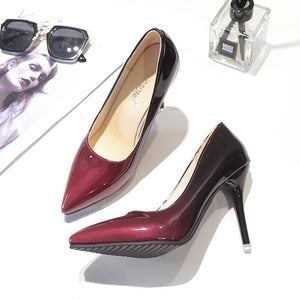 Women's Brand Designer Color Contrasting Patent Leather Stiletto Shoes