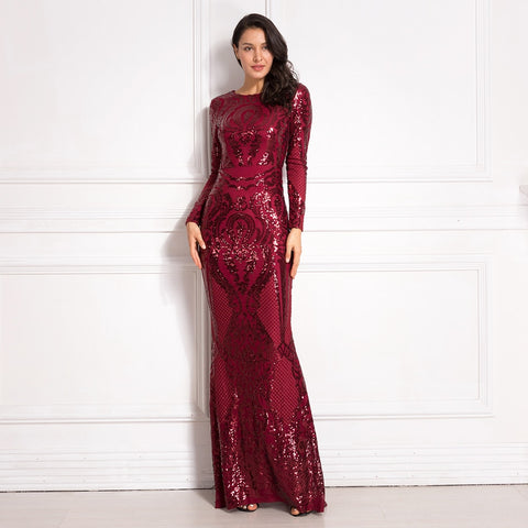 Burgundy Long Sleeve Sequined Maxi Dress Bodycon O Neck Full Length Stretchy Autumn Winter Long Evening Party Dress Black Gold