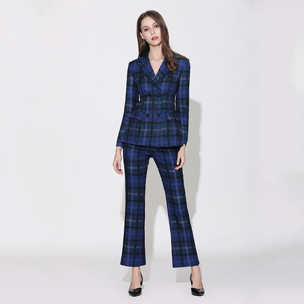 -European Brand Runway Designer Blue Plaid Fashion Blazer Pant Suit Set