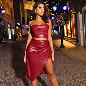 Cryptographic Runched Pu Leather Fashion Sexy Strapless Crop Top and Split Skirt Two Piece Matching Outfit