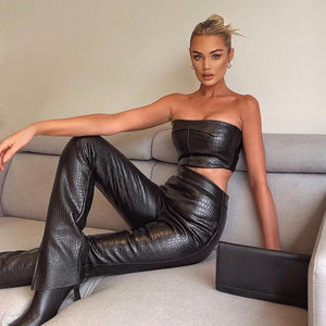 Sexy Strapless PU Black Leather Crop Top and Long Pants Outfit