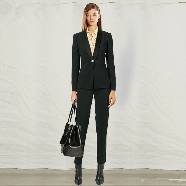 Women's Customer Black Wear To Work Formal Wool Blend Business Blazers And Pant Suit