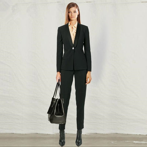 -Women's Customer Black Wear To Work Formal Wool Blend Business Blazers And Pant Suit