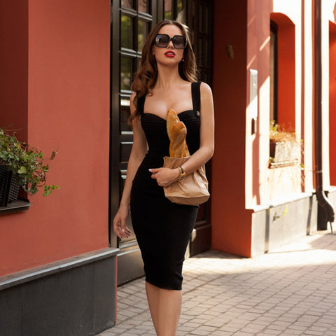 -Women's Trendy Flattering Solid Spaghetti Strap Bodycon Party Dress