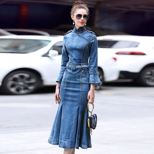 Denim Dress Women's Turtleneck Long Sleeve Maxi Dress