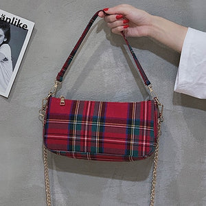 Women's High Quality Brand Designer English Vintage Red Plaid Chain Shoulder Bag