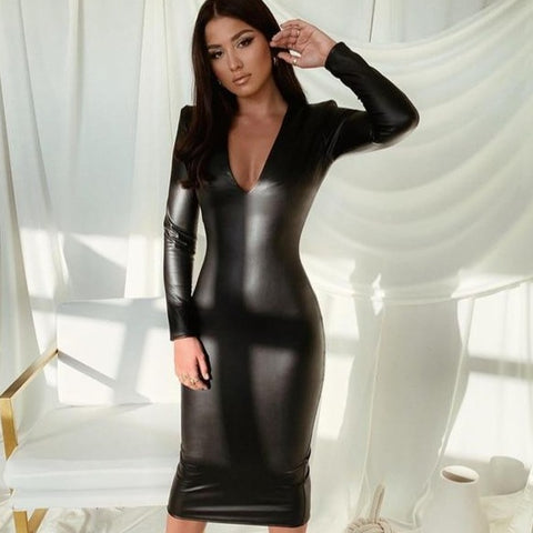 Sexy Long Sleeve Pu Leather Midi V Neck Slim Bodycon Dress - ICU SEXY
