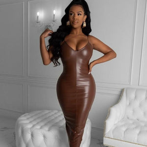 Sexy PU Leather Midi Dress Women Strap V-neck S - ICU SEXY