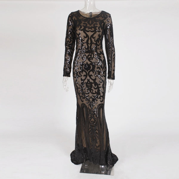 -Elegant Long Sleeve Stretch Black Sequined Evening Party Dress Floor Length Black Maxi Dress
