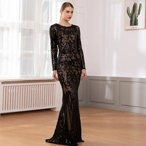 Elegant Long Sleeve Stretch Black Sequined Evening Party Dress Floor Length Black Maxi Dress