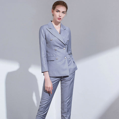 -Women's Elegant Long Solid Button Down Double Breasted Blazer Pants Suit