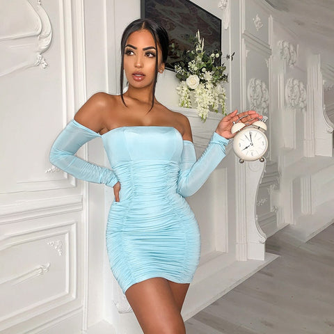 Elegant Off Shoulder Runched Backless Long Sleeve Stacked Bodycon Mini  Party Club Dress